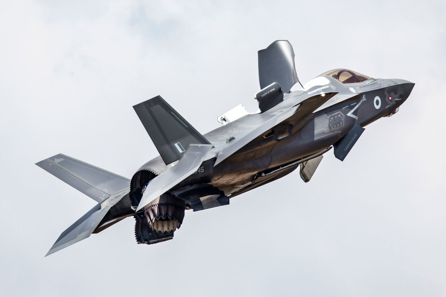 An RAF F-35B performs a hover manoeuvre.